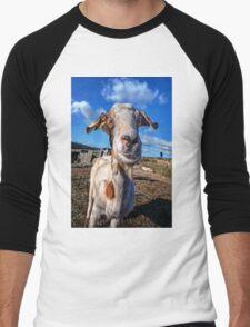 Funny portrait of a goat staring Men's Baseball ¾ T-Shirt