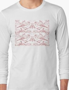 Chaffinch Toile de Jouy Inspired Red Long Sleeve T-Shirt