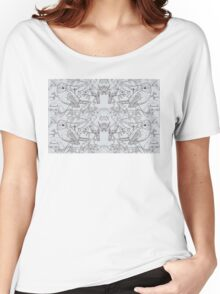 Blue Tit Toile de Jouy Inspired Pale Grey Women's Relaxed Fit T-Shirt