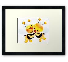 Cut-out of bees in love Framed Print