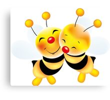 Cut-out of bees in love Canvas Print