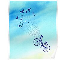 Bike flying high with birds Poster
