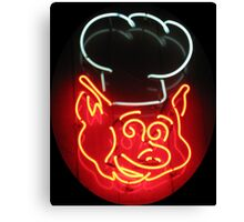 Neon Sign - BBQ Pig Chef Canvas Print