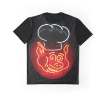 Neon Sign - BBQ Pig Chef Graphic T-Shirt