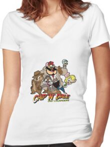 Chip N Dale Last Crusaders Women's Fitted V-Neck T-Shirt
