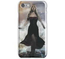 the forces of nature, blonde woman on the rocks with the sea raging and powerful iPhone Case/Skin