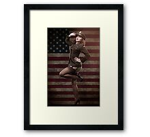 Sexy officer of the American forces in World War II Framed Print