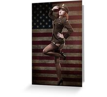 Sexy officer of the American forces in World War II Greeting Card