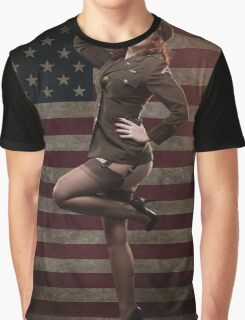 Sexy officer of the American forces in World War II Graphic T-Shirt