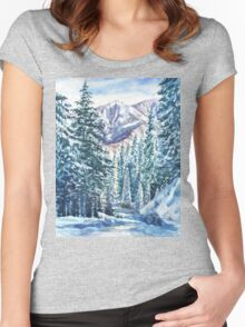 Winter Forest And Mountains Women's Fitted Scoop T-Shirt
