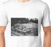 Family of Tourists watching Geysers  Unisex T-Shirt