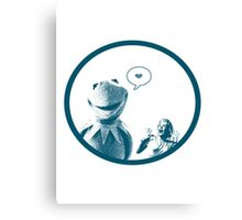 Kermit in Love Canvas Print