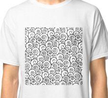 Modern Black and White Abstract Swirly Pattern Classic T-Shirt