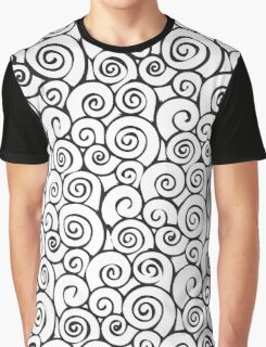 Modern Black and White Abstract Swirly Pattern Graphic T-Shirt