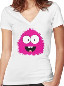 Funny cartoon pink monster Women's Fitted V-Neck T-Shirt