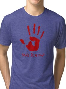 We Know Letter (Red) - The Dark Brotherhood Tri-blend T-Shirt