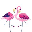 Cute Pink Flamingos Illustration by artonwear