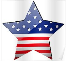 American Flag Star Shape Poster