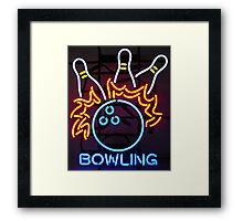 Neon Sign - Bowling Framed Print