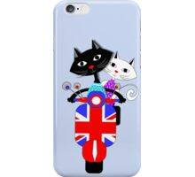British Union Jack Retro Scooter And Cute Cats iPhone Case/Skin