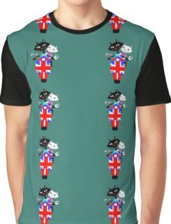 British Union Jack Retro Scooter And Cute Cats Graphic T-Shirt