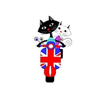 British Union Jack Retro Scooter And Cute Cats Photographic Print