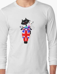 British Union Jack Retro Scooter And Cute Cats Long Sleeve T-Shirt