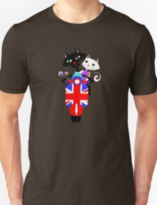 British Union Jack Retro Scooter And Cute Cats Unisex T-Shirt