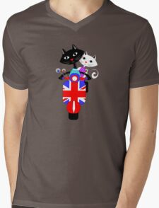British Union Jack Retro Scooter And Cute Cats Mens V-Neck T-Shirt
