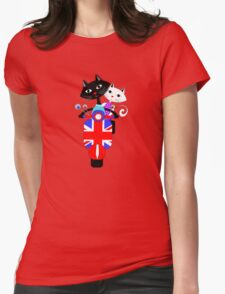 British Union Jack Retro Scooter And Cute Cats Womens Fitted T-Shirt