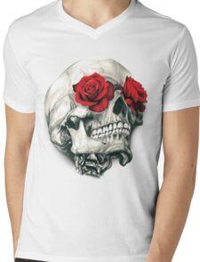 Rose Eye Skull Mens V-Neck T-Shirt