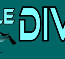Maledives diving, colours cyan and black Sticker