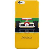Ayrton Senna - McLaren MP4/4 - Front view full colour helmet iPhone Case/Skin
