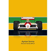 Ayrton Senna - McLaren MP4/4 - Front view full colour helmet Photographic Print