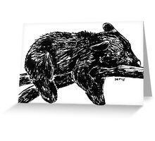 Sleepy Black Bear Woodland Animal Ink Drawing Illustration Nursery Children's Art Greeting Card