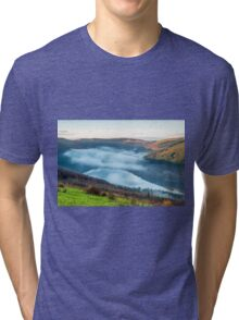 Talybont Reservoir and Mist in the Valley Tri-blend T-Shirt