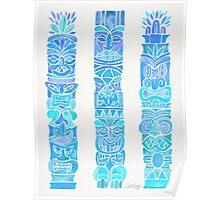 Tiki Totems – Turquoise Palette Poster