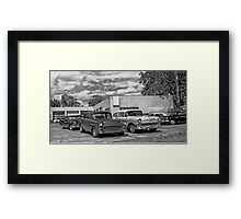 Old cars at the garage Framed Print