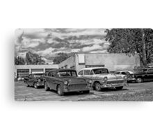 Old cars at the garage Canvas Print