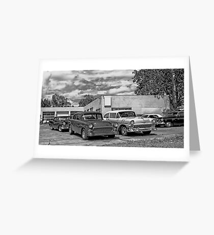 Old cars at the garage Greeting Card
