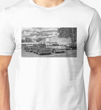 Old cars at the garage Unisex T-Shirt