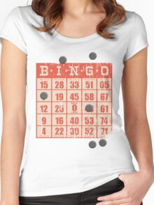 Hipster kitsch vintage bingo card game card Women's Fitted Scoop T-Shirt
