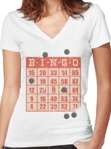Hipster kitsch vintage bingo card game card Women's Fitted V-Neck T-Shirt