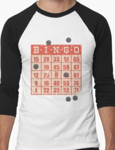 Hipster kitsch vintage bingo card game card Men's Baseball ¾ T-Shirt