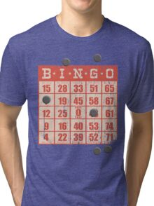 Hipster kitsch vintage bingo card game card Tri-blend T-Shirt