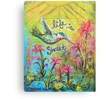 Life Is Sweet - Hummingbird Sipping Nectar  Canvas Print