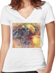 Monkey Women's Fitted V-Neck T-Shirt