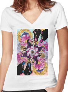 alien hunters from the flower planet Women's Fitted V-Neck T-Shirt