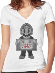Super Mushroom Women's Fitted V-Neck T-Shirt