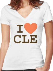 I HEART CLE - CLEVELAND Women's Fitted V-Neck T-Shirt